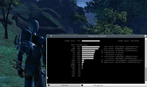 Terminal with Intel GPU monitoring console